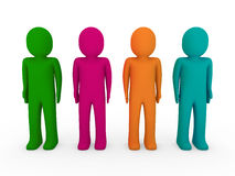 3d human team green pink orange turquoise Royalty Free Stock Photo