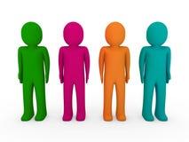 3d human team green pink orange turquoise Royalty Free Stock Photo