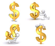 3D Human US Dollar. A 3D human is carrying, pushing a big red US dollar symbol Royalty Free Stock Image