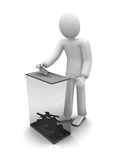 3d human voiting, elections. 3d human voiting near box, elections of new power royalty free illustration