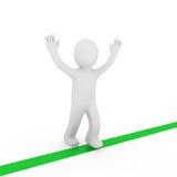 3d human winner target. 3d human run winner target success first green Stock Photo