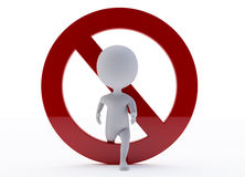 3d humanoid character with a ban sign Royalty Free Stock Images