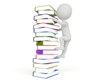 3d humanoid character climb on the books Stock Photos
