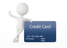 3d humanoid character with a credit card. 3d humanoid character with a blue credit card Royalty Free Stock Image