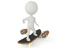 3d humanoid character drive on a skateboard Royalty Free Stock Images