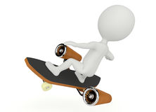 3d humanoid character fly on a skateboard Stock Photo