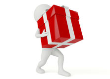 3d humanoid character hold a gift box Stock Images
