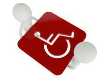 3d humanoid character hold a handicapped symbol Royalty Free Stock Images