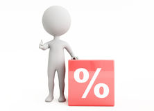 3d humanoid character with a percentage sign. 3d humanoid character with a  cube percentage sign Stock Photos