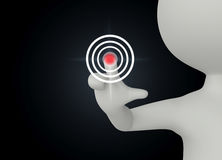 3d humanoid character push a button Stock Image
