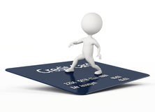 3d humanoid character surfing on a credit card. On white Stock Photos