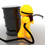 3d humanoid icon with oil barrel Stock Images