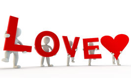 3D humans forming red Love word. 3d render isolated on white stock illustration
