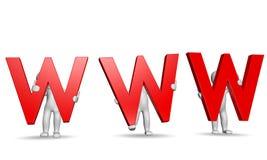 3D humans holding red WWW letters. On white, 3d render stock illustration