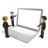 3d humans with laptop isolated on white background Royalty Free Stock Photo