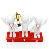 3D humans standing on winners podium Stock Photography