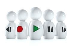 3d humans with stereo symbols. Isolatend on a white background Vector Illustration
