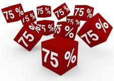 3D i cubi rossi di vendita di bianco 75 cadono Immagini Stock Libere da Diritti