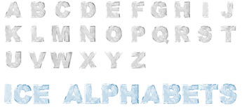 3D Ice Alphabets set. 3D Render of ice alphabets from A to Z, isolated on a white background Stock Image