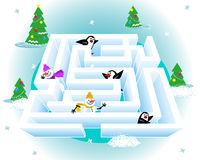 3d ice maze. Help every snowman and every penguin get out of the ice maze Royalty Free Stock Photography