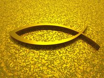 3D ichthys gold on golden ground. 3d symbol on golden texture stock illustration