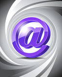 3D Icon At. Glossy three-dimensional icon of at with abstract background Royalty Free Stock Image