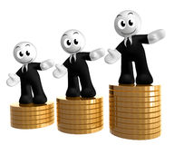 3d icon figure with gold coin piles Stock Photos
