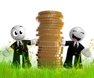 3d icon figure with gold coin piles Stock Images