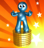 3d icon figure with gold coin piles Stock Photo