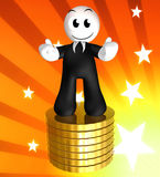 3d icon figure with gold coin piles Royalty Free Stock Photo