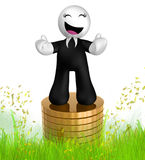 3d icon figure with gold coin piles Stock Image