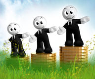 3d icon figures with gold coin piles Stock Images