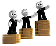 3d icon figures with gold coin piles Royalty Free Stock Photography