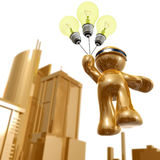 3d icon with idea light bulb balloon. Illustration Royalty Free Stock Image