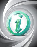 3D Icon Info. Glossy three-dimensional icon of information with abstract background Stock Images