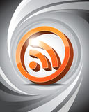 3D Icon RSS. Glossy three-dimensional icon of RSS with abstract background Royalty Free Stock Image