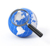3d icon search. Earth globe with magnify glass Royalty Free Stock Photo