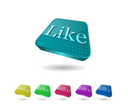 3d Icon Set with Like Word. 3d Shiny Icon Set with Like Word Royalty Free Stock Image