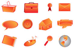 3d icons. Illustration of 3d icons, orange Royalty Free Stock Photo