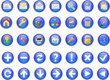 3d icons. 3d blue web icons set - computer generated illustration Stock Images
