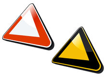 3D Icons. An illustration of two triangular shape 3D icons, isolated on a white background stock illustration