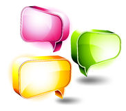 3D Icons: Chat Boxes. 3D Icons of Colorful Glossy Chat Boxes with room for message