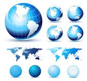 3D Icons: Glossy Earth Globes. 3D Icons of the Globe in Shiny, Glossy Vector illustration Royalty Free Stock Photos