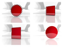 3d icons pack. Four 3d icons, square, star, rectangle and circle Royalty Free Stock Images