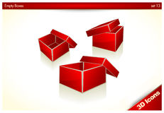 3D icons - Red Gift Boxes Stock Photo