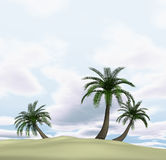 3d iisland with palm-trees and cloudy blue sky Royalty Free Stock Images