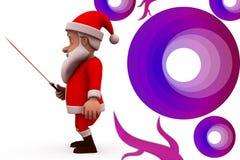 3d il Babbo Natale con l'illustrazione della spada Immagine Stock