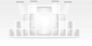 3d illuminated bookshelf. White 3d empty illuminated shelves Royalty Free Stock Photography