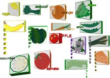 3d illustartions of healty foods for children. 3d illustrations of fruit and veggies Stock Images