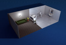 3D illustrated bathroom. A three-dimensional architectural illustration of a bathroom Stock Images